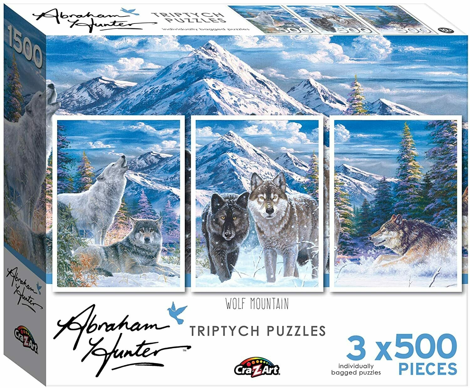 Wolf Mountain Triptych by Abraham Hunter 3x500 Piece Puzzle