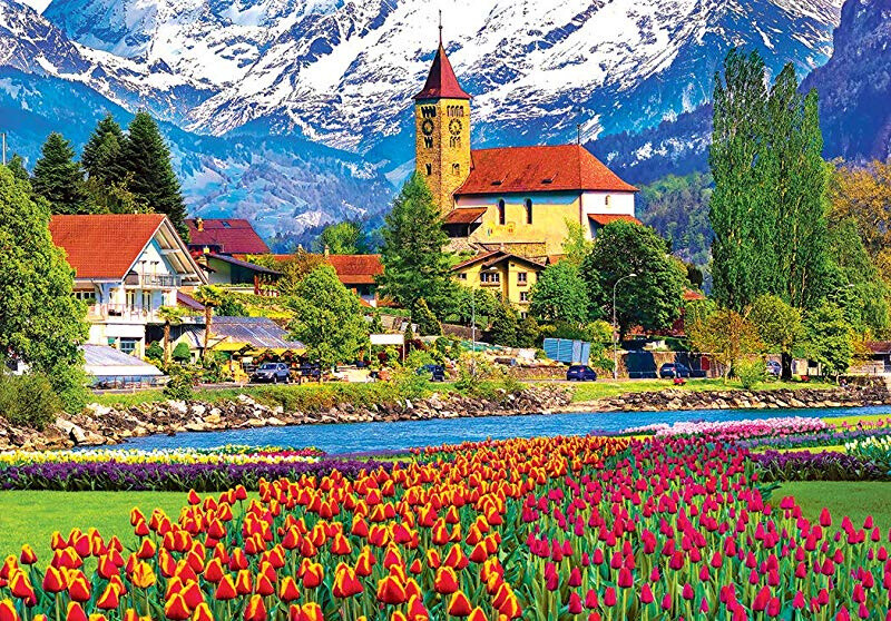 Kodak Premium Puzzles Brienz Town & Flowers, Switzerland 1500 Piece Jigsaw Puzzle