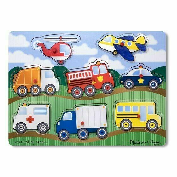 Vehicles Wooden Peg 8 Pc
