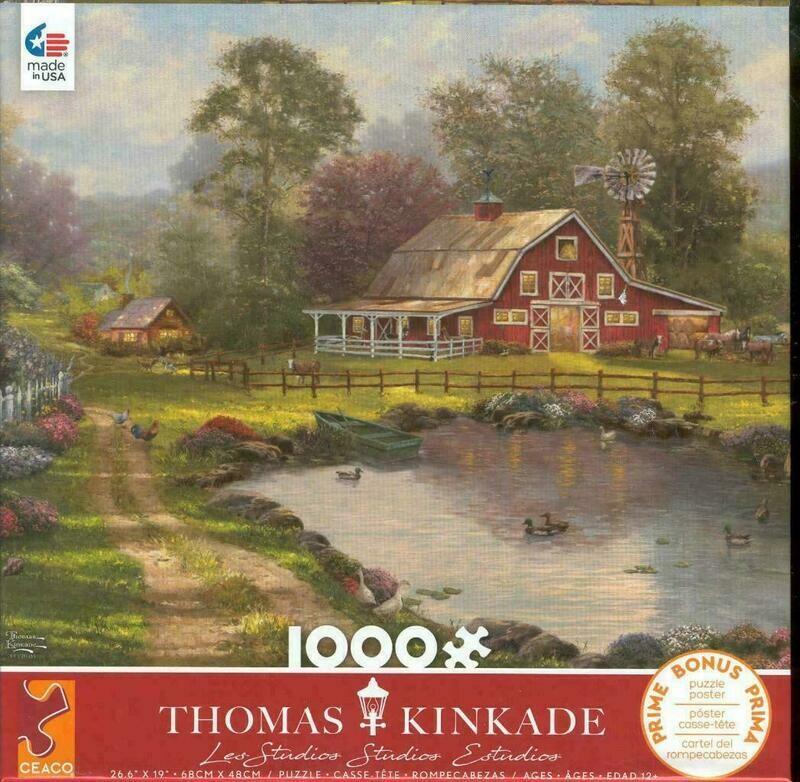 Thomas Kinkade Red Barn Retreat 1000 Pc