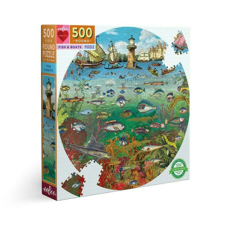Fish And Boats 500 Pc Round