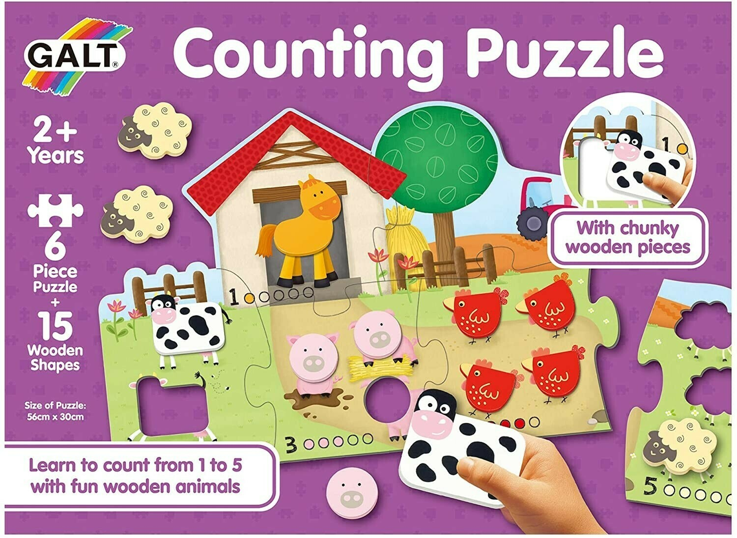 Counting Puzzle 6 Pc With 15 Wooden Shapes