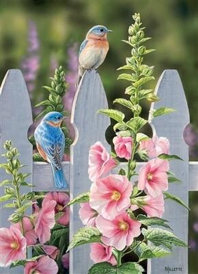 Bluebirds And Hollyhocks 1000 Pc