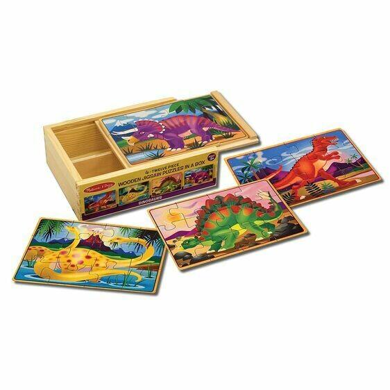 Wooden Dinosaur 12 Pc X 4 In Box