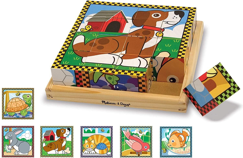 Wooden Cube Puzzle Pets 16 Pc