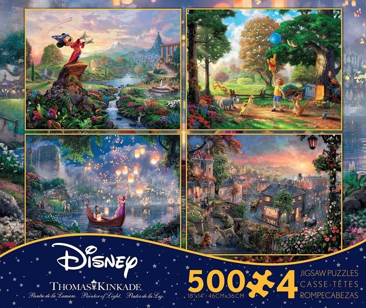 Disney Kincade 500 Pc X 4 Mickey, Pooh, Lanterns,lady And The Tramp