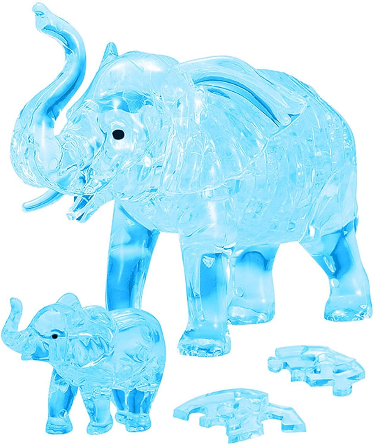 3D Crystal Elephant With Baby 46 Pc