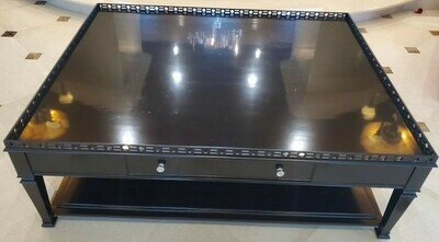 Century Jet Finish Coffee Table, Side Drink Extend
