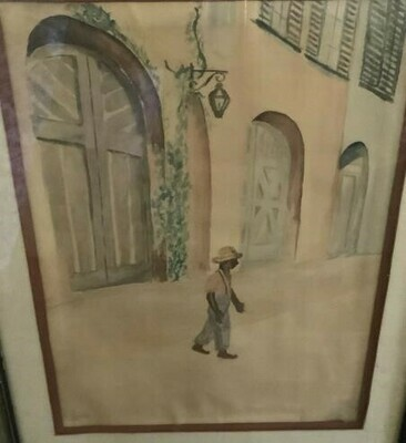 Unsigned Watercolor New Orleans, 1946,