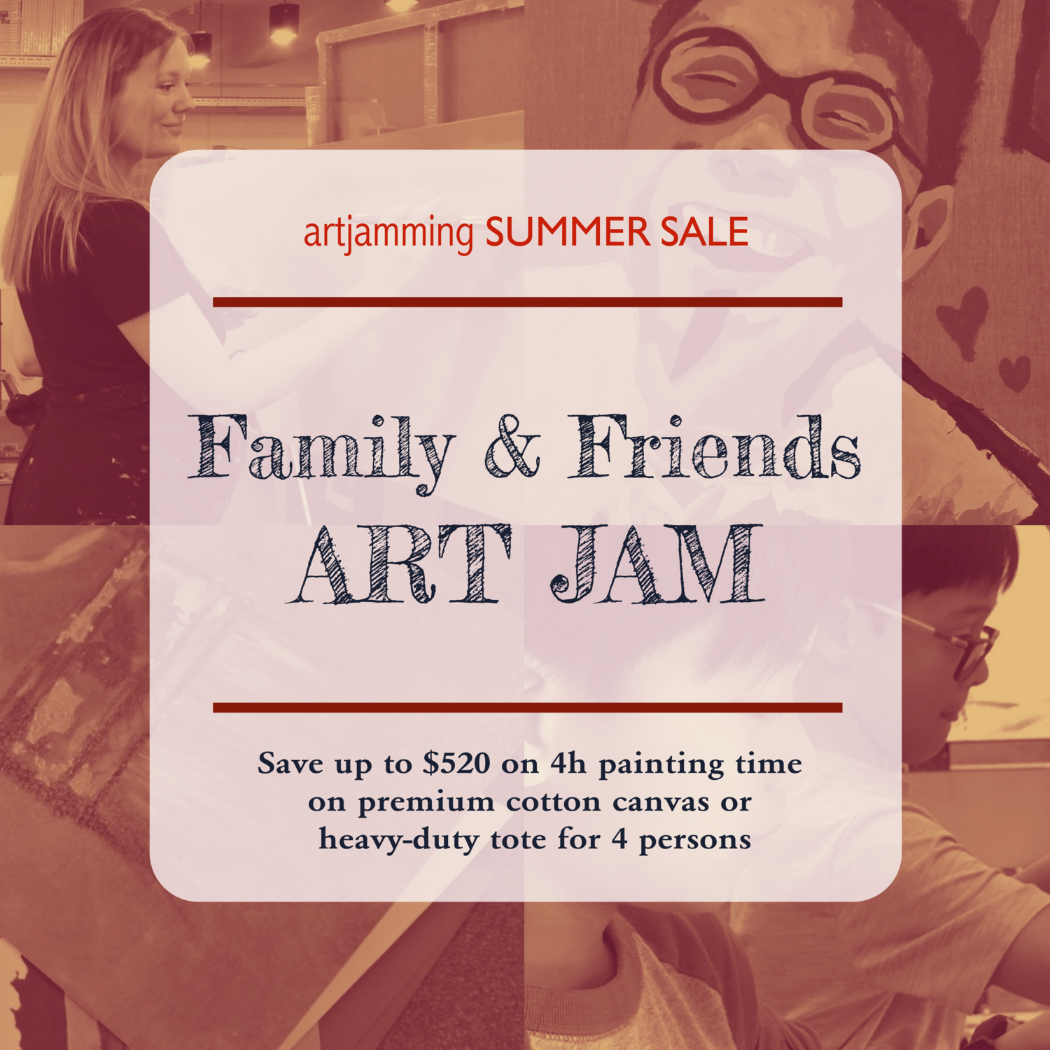 Summer Sale : Friends & Family ART JAM for 4 - 4h Session on Mini canvas OR Nature tote