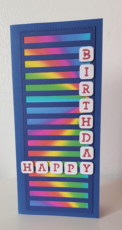 Fun bright  Happy Birthday scrabble letter card
