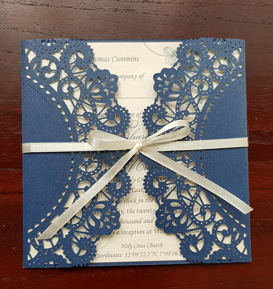 Navy Blue and Ivory Wedding  / Event invitation card