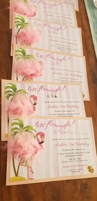 Fluffy Flamingo Invitations