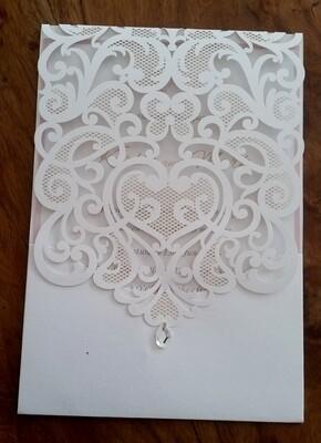 Delicate vintage lace laser cut Pocket Wedding Invitation card with diamonté drop.