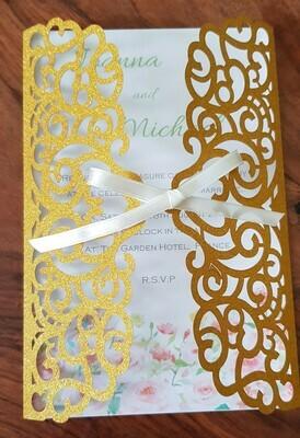 Gold glitter gate fold invitation card
