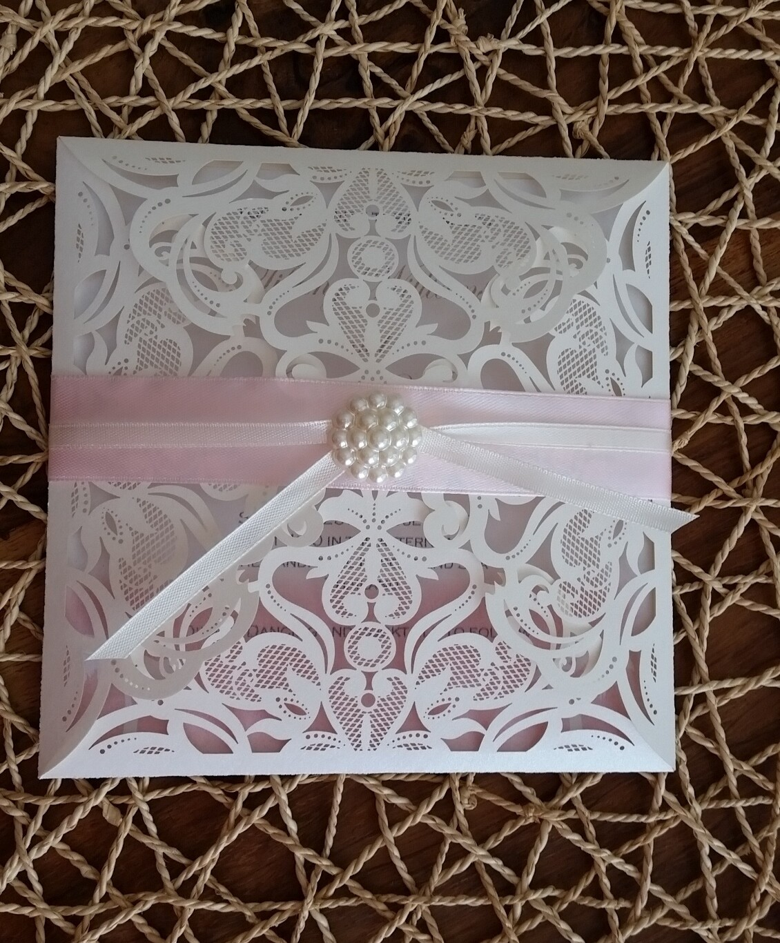 Square pearl shimmer laser cut with pearl cluster