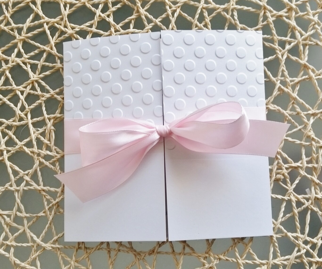 Pink and white embossed dot gate fold baby shower