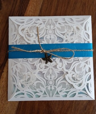 Classy rustic Beach Wedding laser cut Invitation cards with ribbon, twine and bronze pendant