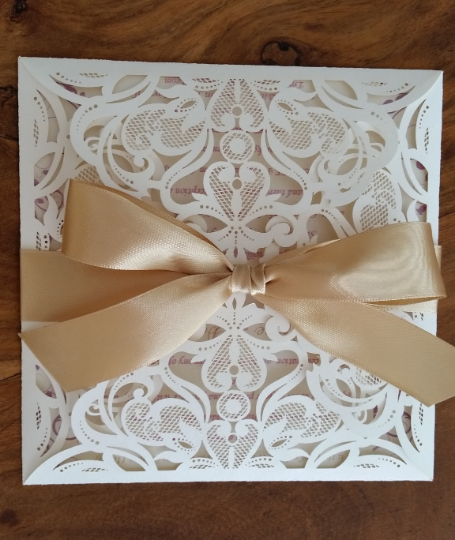 Champagne four fold with ribbon