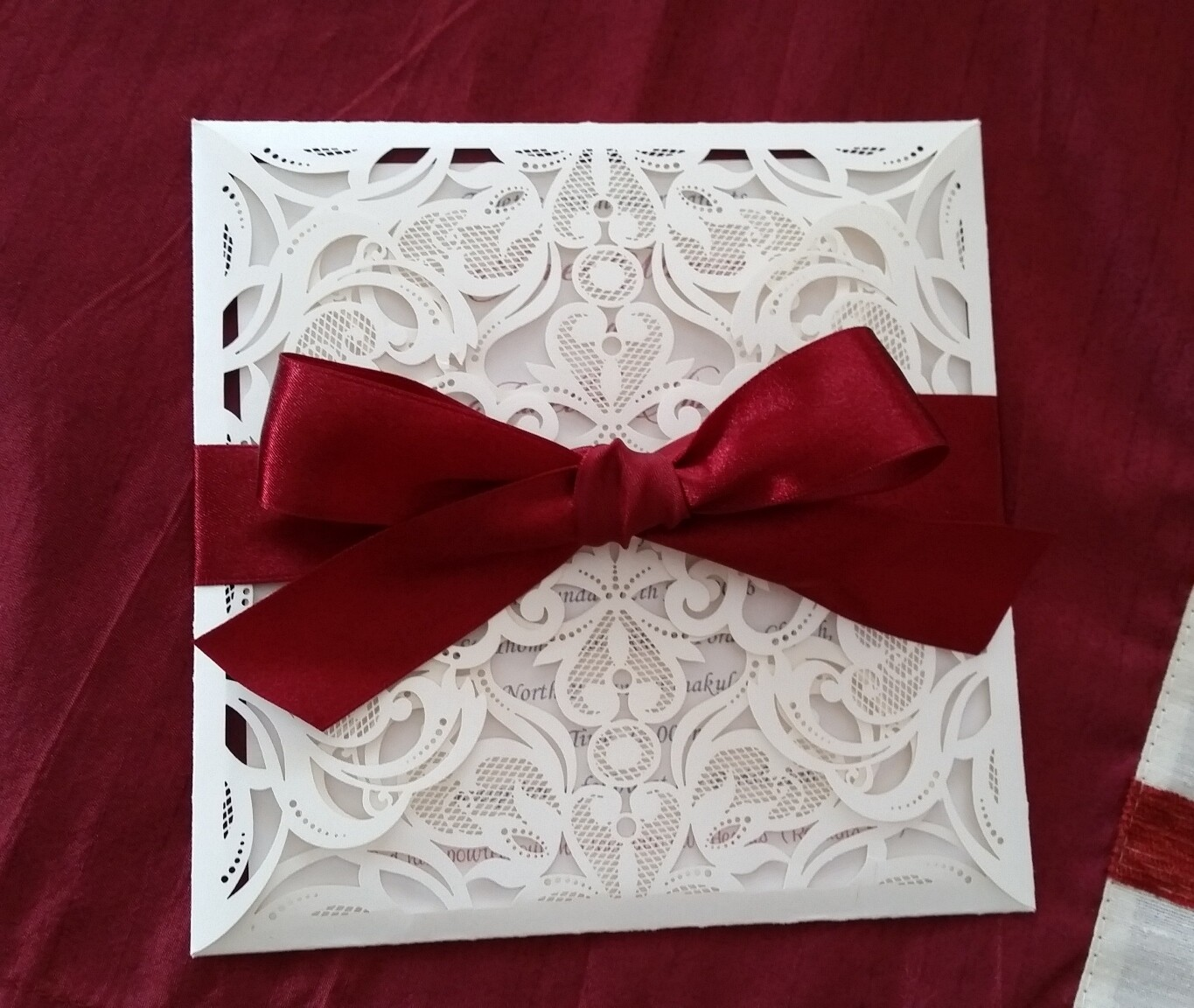 Luxury square lace Champagne laser cut Invitation cards, with double layered inserts and coloured ribbon bow