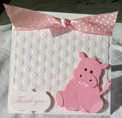 Personalised Modern Hippo card / Invitation, with Embossed dots, and soft Satin ribbon, and swarovski crystal tail tip.