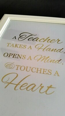 Gold foiled teacher quote