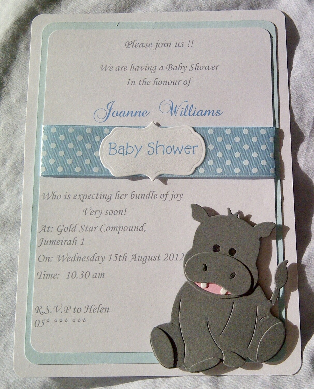 Cute grey hippo triple layer invitation
