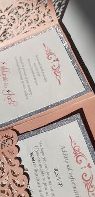 Elegant pink side fold laser invitation