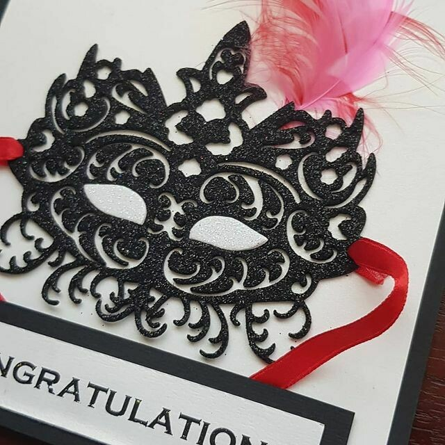 Congratulations black glitter mask greeting card