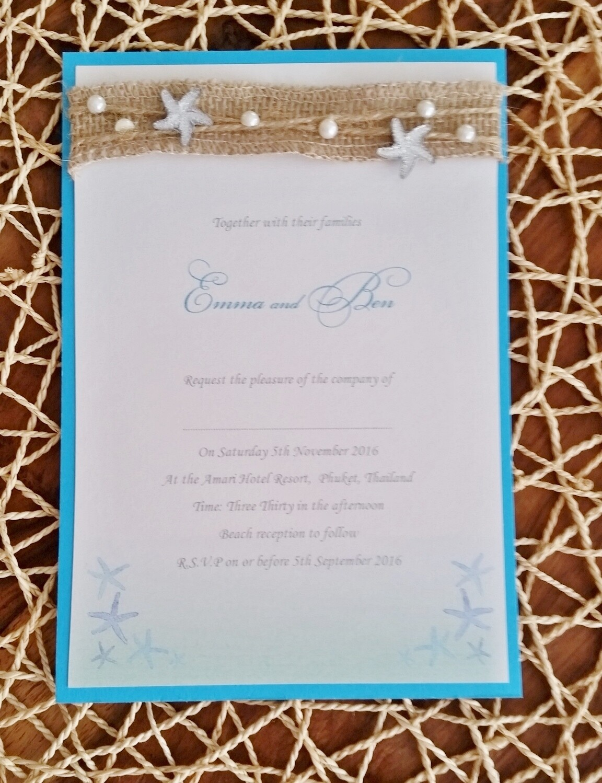 Beautiful blue ombré beach wedding Invitation cards, wirh burlap, twine, starfish and pearls