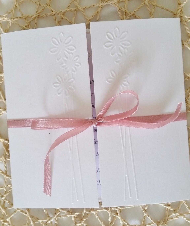 Elegant Handmade Embossed Flower Square Gate Fold Invitation,