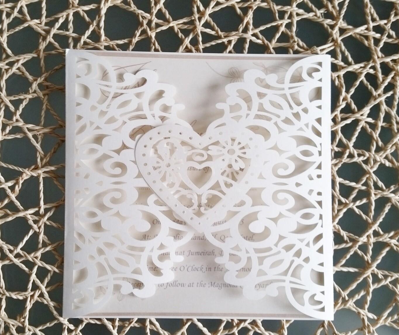 Beautiful Ivory Heart Laser cut Wedding Invitation card