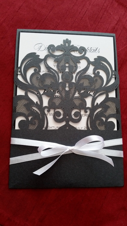 Beautiful Black lace Swirl Laser Cut Pocket Wedding invitation card with white satin ribbon I