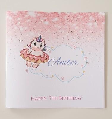 Persoanlised Unicorn Birthday card
