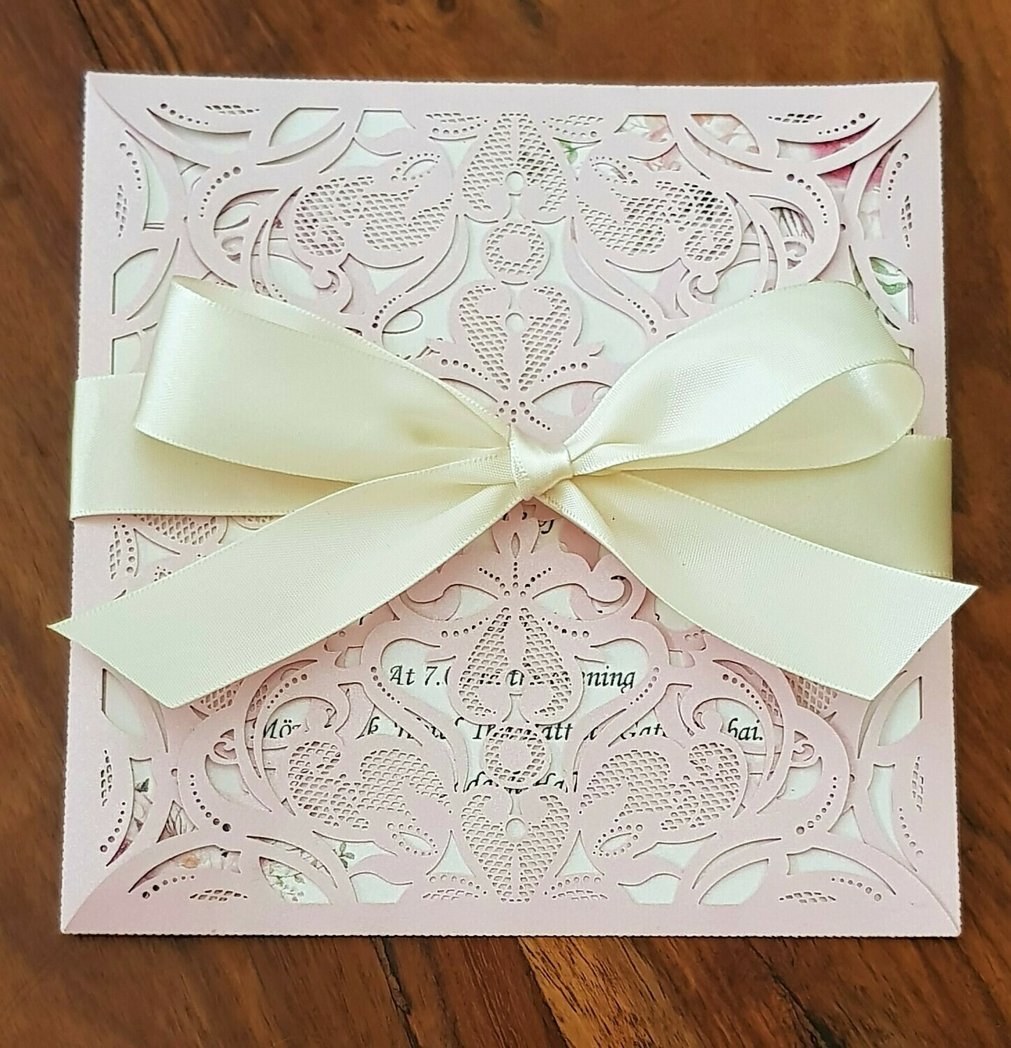 Blush pink and Ivory pearl shimmer laser cut invitation