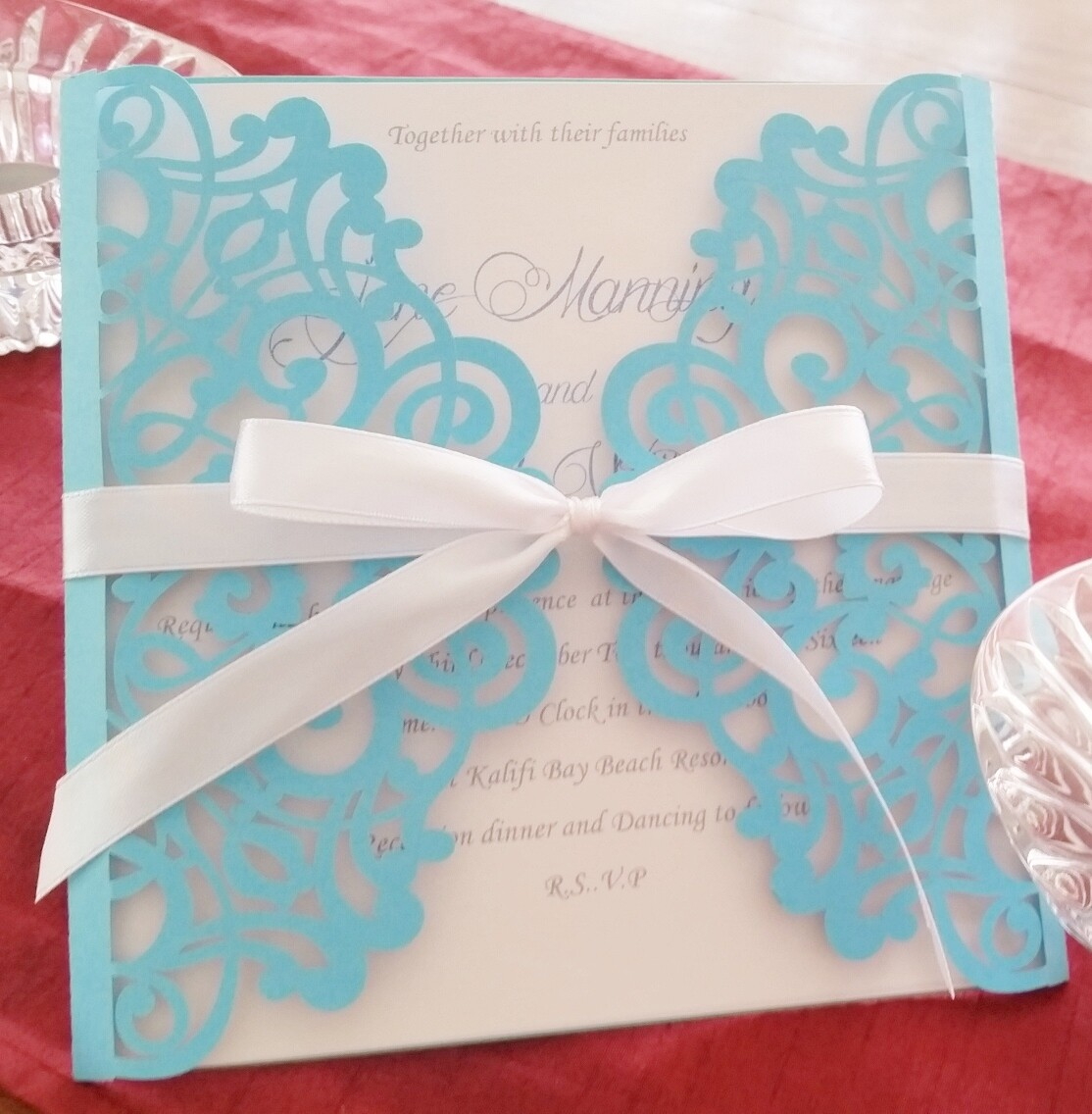 Pastel blue Wedding invitation card
