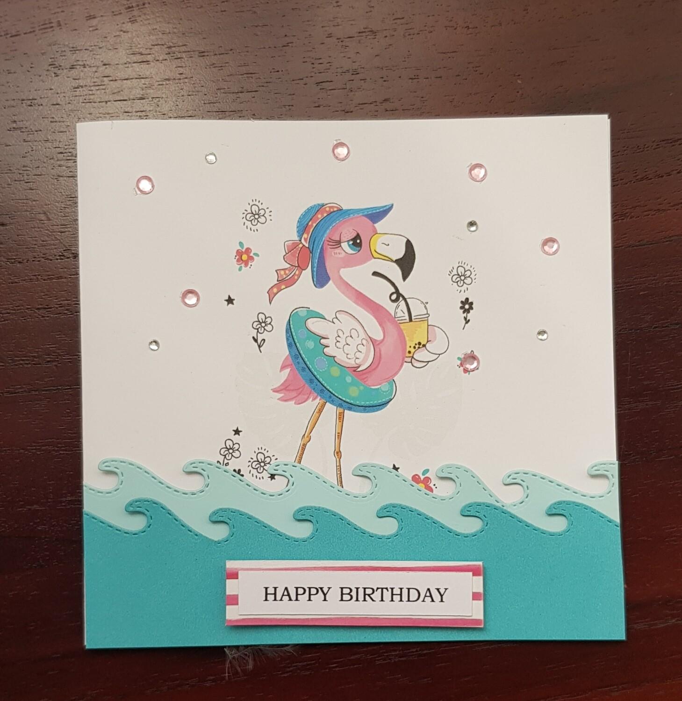 Paddling flamingo Birthday card
