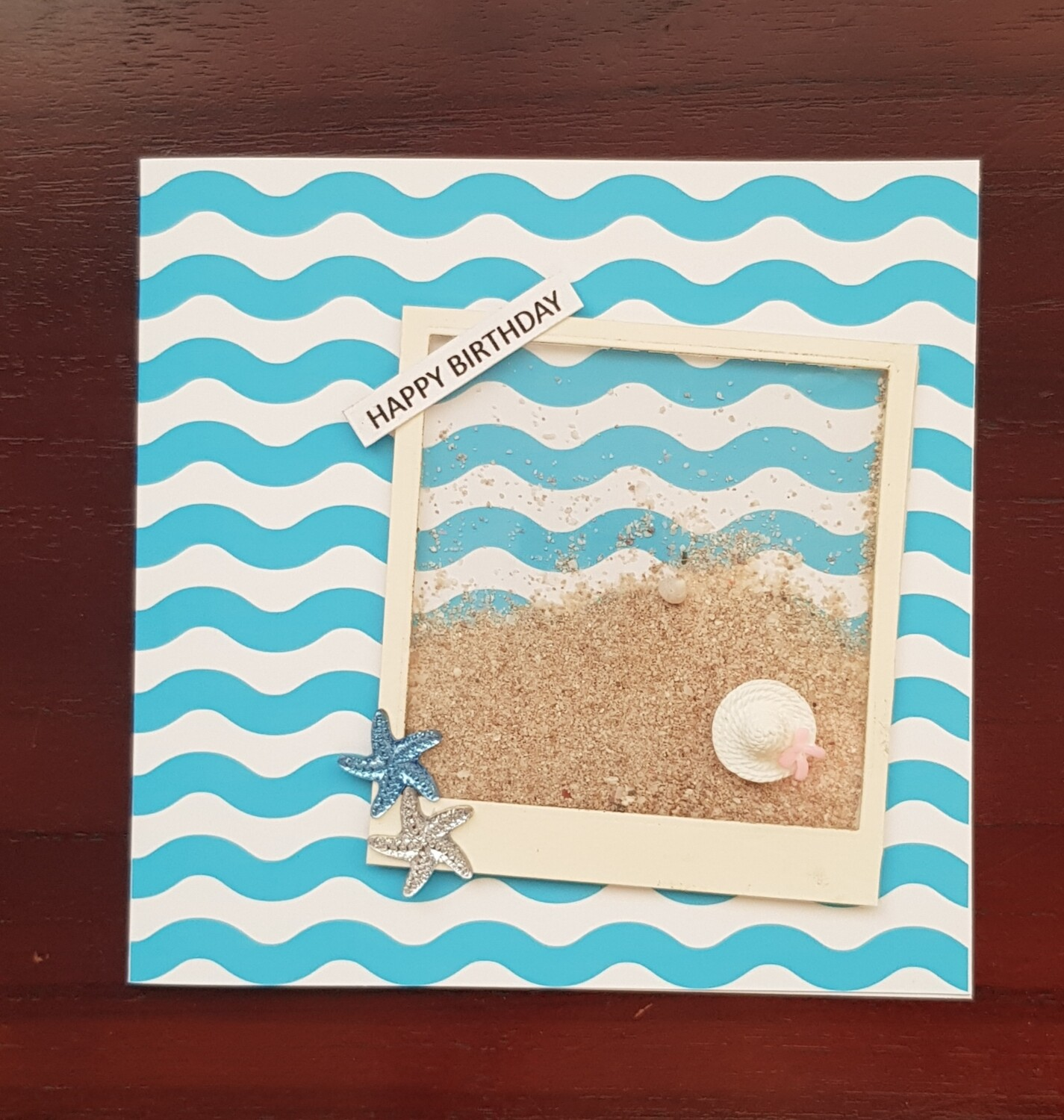 Beach picture frame shaker card