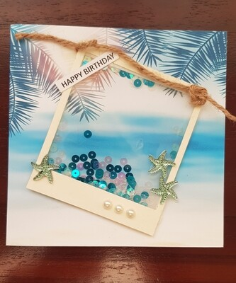 Tropical beach picture frame shaker card