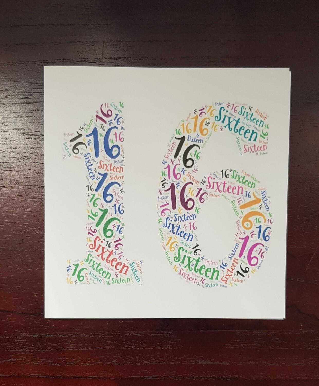 16th Birthday word card