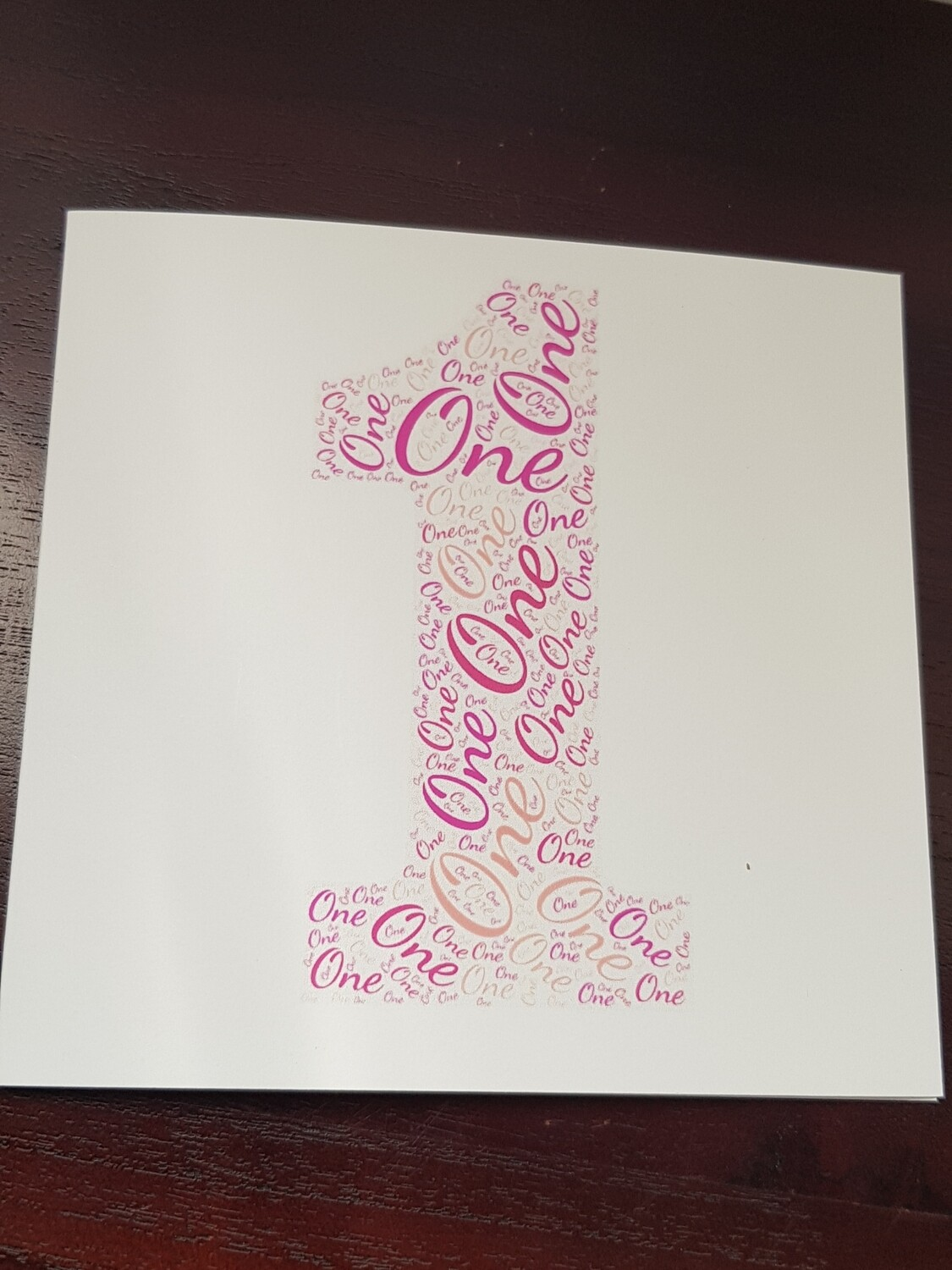 Pink 1st word card
