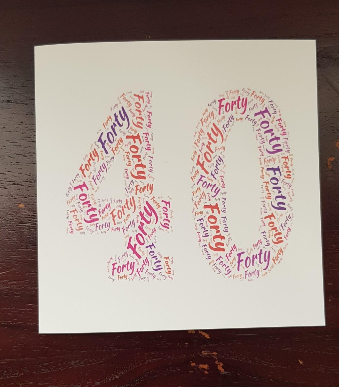 Colourful 40 Birthday Card
