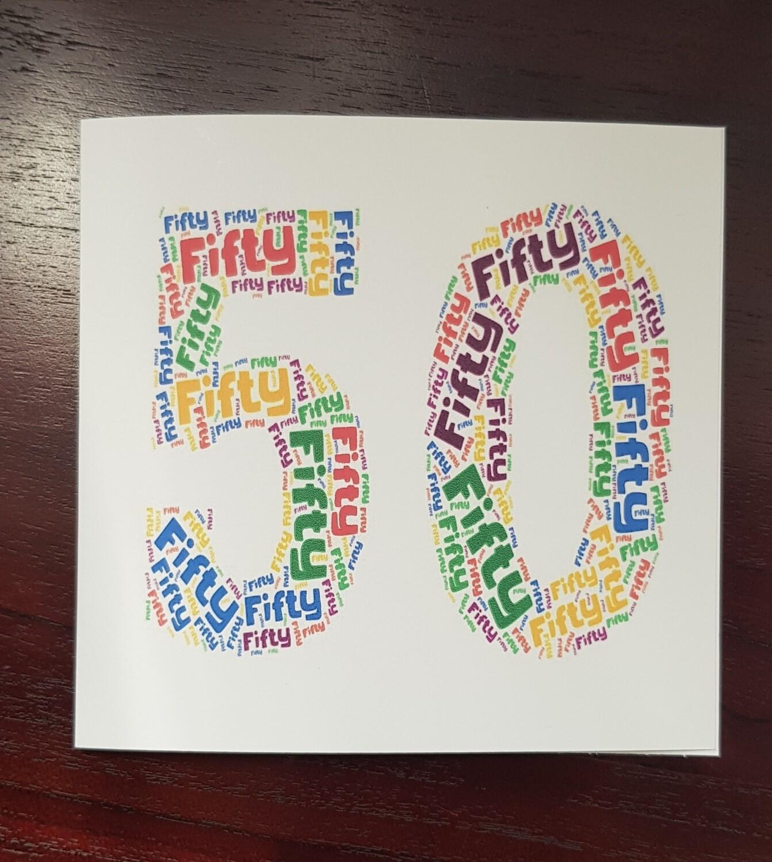 Bright fun 5oth Birthday card