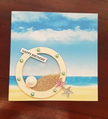 Beach round window frame sand shaker card