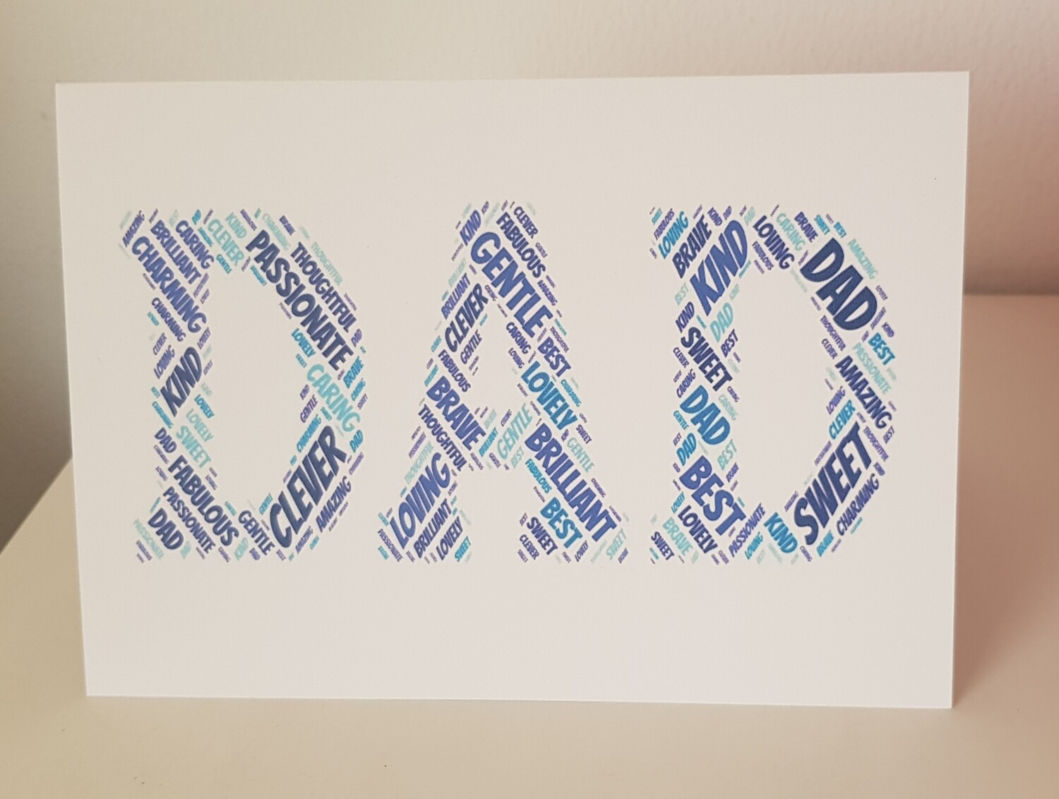 Blue Dad word art card for any occasion