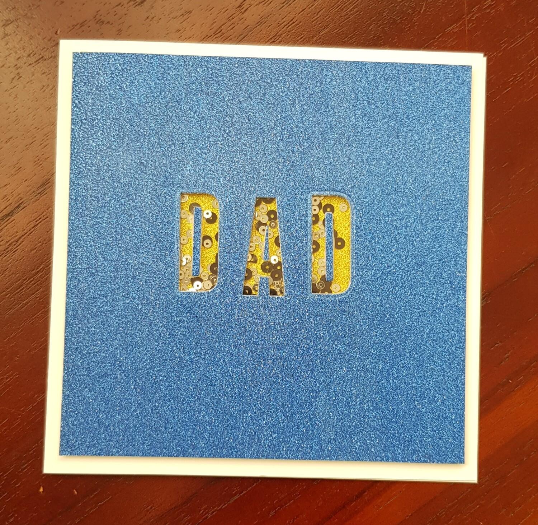 Royal blue glitter DAD shaker card