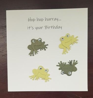 Hop hop Hurray Frog birthday card