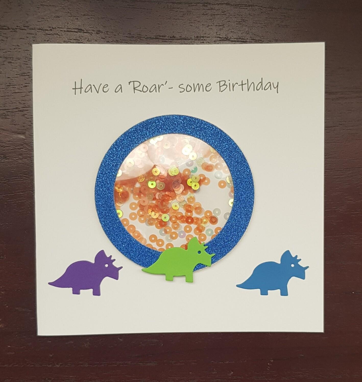 Dinosaur Shaker Birthday card