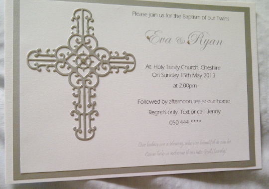 Luxury modern Baptism Invitations, with a soft ornate cross embellishment, and swarovki crystals.