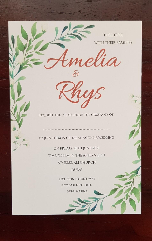 Botanical Wedding Invitations - sets of 10